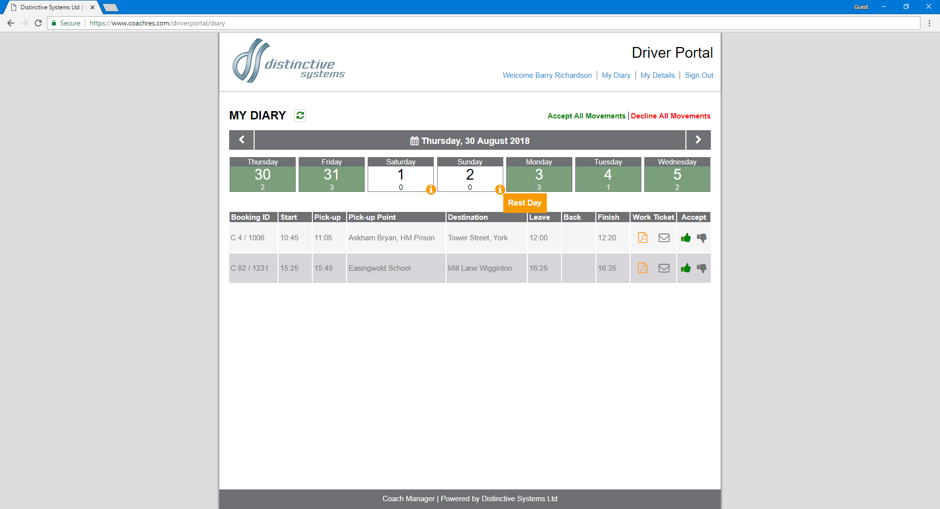 Driver Online Portal for Distinctive Systems Coach Manager Released