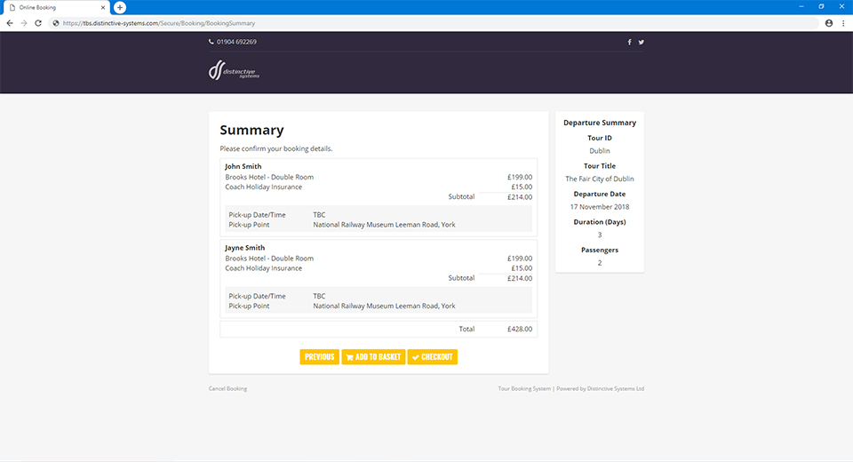 Distinctive Systems Tour Booking System Coach Travel Booking Software