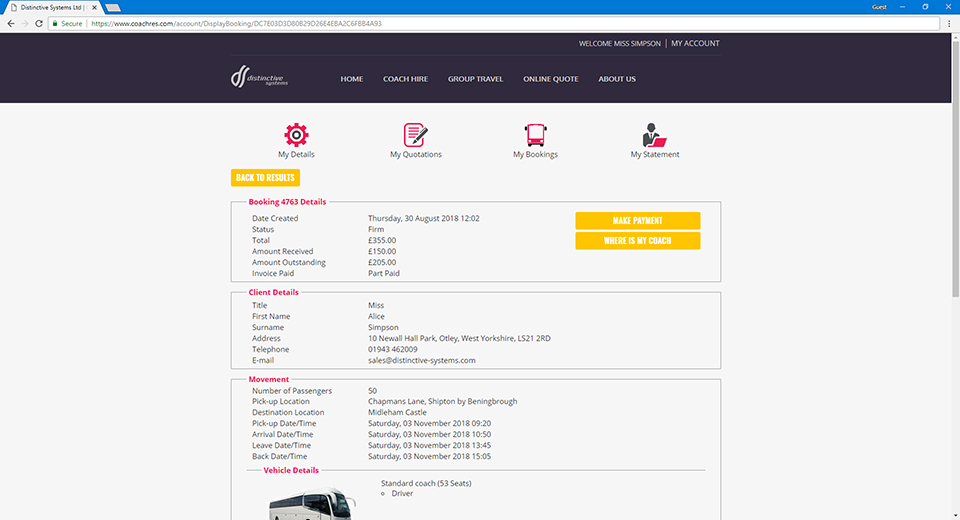 Distinctive Systems Coach Manager - Booking Management Software for